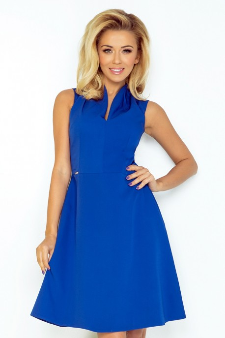 Dress with collar and neckline - blue 133-1