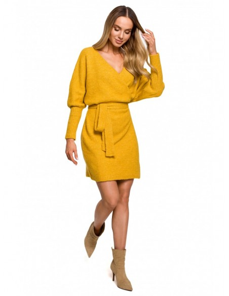 M631 Wrap sweater dress with a tie detail - honey