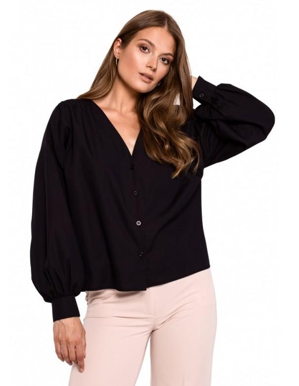 K115 Bishop sleeve shirt - black