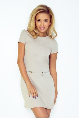 Dress with two zippers - beige 134-3