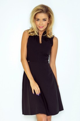 Dress with collar and neckline - black 133-2