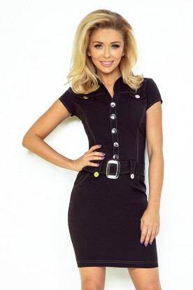 Dress with buttons - black 142-1