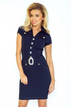 Dress with buttons - navy blue 142-2