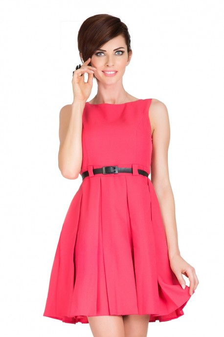 Dress with contrafold - coral 6-8