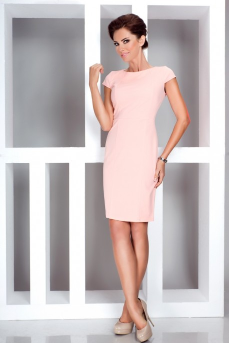 Elegant dress with short sleeves - peach 37-1