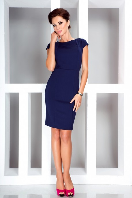 Elegant dress with short sleeves - Dark Blue 37-2