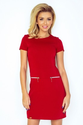 Dress with two zippers - red 134-2