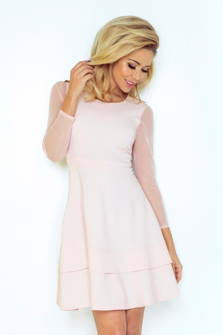 Dress with sleeves of tulle - light pink 141-4
