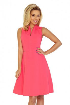 Dress with collar and neckline - neon peach 133-4